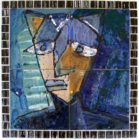 katze nachdenklich 2009 fliesenbild mit strukturglasur gemalt