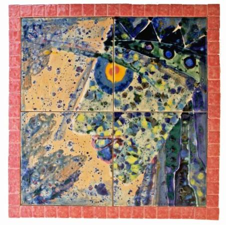 erinnerung 2009 fliesenbild gemalt mit strukturglasur erhabene linien 34 x 34 cm als bild zum aufhngen geklebt auf hartfaser mit bilderhaken
